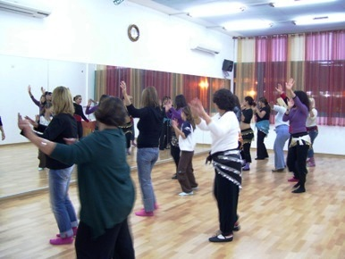 A dance class at The Belly Dace Center